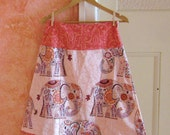 PInk Elephant ALine Skirt - adult Size Small S - CUSTOM for NICKIE