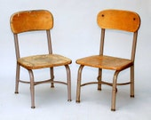 Vintage pair of childrens school chairs