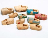 Vintage Dutch Miniature Wooden Shoes Midcentury souvenir items ornaments collectible supplies