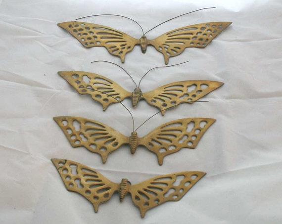 Vintage mid century Brass Butterfly wall art set of 4