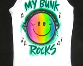 Airbrush Glamour Toes airbrushed personalized school CAMP name My bunk rocks tank shirt