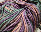 Hand Dyed Yarn, Alpaca and Pima Cotton, Worsted Weight - Grapes and Roses - OOAK