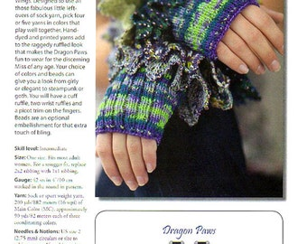 Knitting Pattern Fingerless Gloves Hand Warmers Dragon Paws Beaded Ruffled