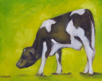 original oil painting. cow. baby animals. calf. holstein. farm animals. cows. dairy. home decor. original art. traciebrownart. moo.