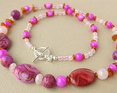 Pretty in Pink necklace - Crazy lace agate, mother of pearl, rose quartz, amber.
