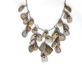 Statement Jewelry - River rock bib necklace - Falling Rocks