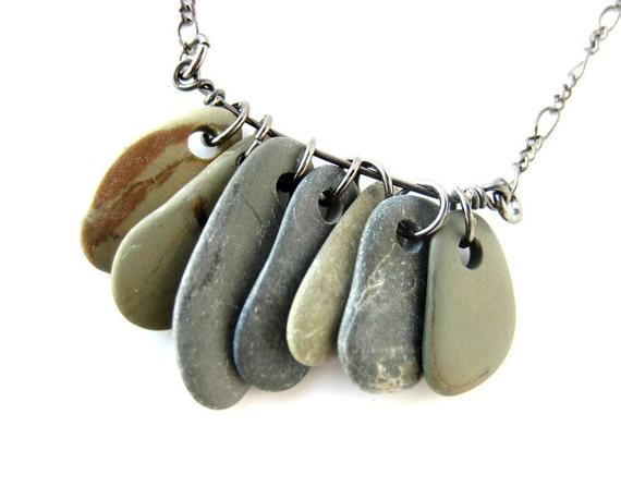 River rock jewelry SALE - Rock Collections Necklace, Faded Denim