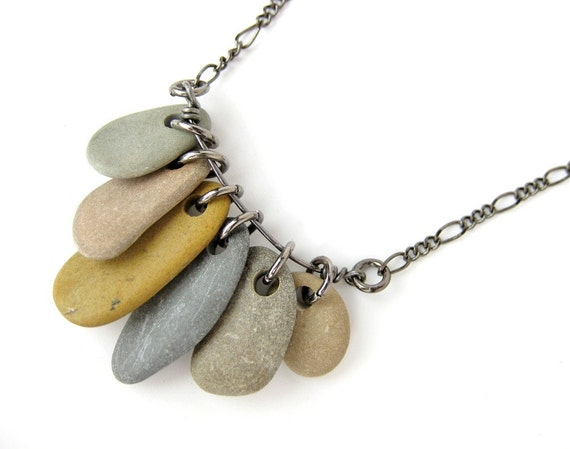 Natural jewelry - pebble necklace - Rock Collection, Grey and Mustard