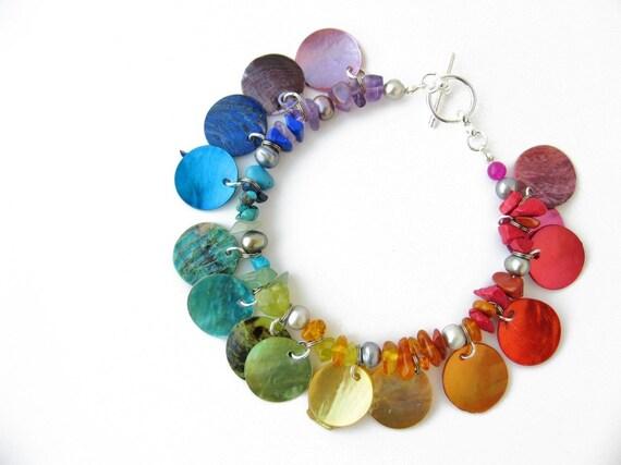 Natural Rainbow bracelet - shell bracelet - Gypsy Cuff, Rainbow
