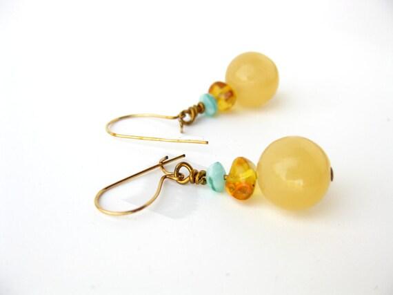 yellow earrings beaded gemstone earrings by authenticstone