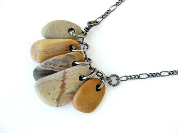 River rocks necklace - Faux Bois, 5 Pebble Necklace