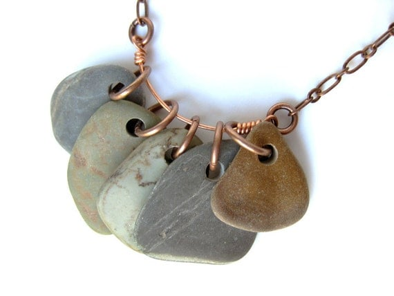 Natural jewelry - river stone necklace - Slate Rock Collection Necklace