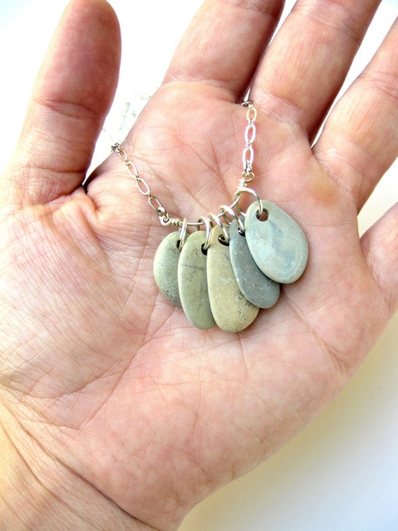 """Natural stone jewelry - beach stone necklace. """"Watercolors"""" Rock Collection Necklace"""
