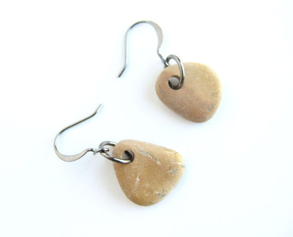 River rock earrings - Mustard Yellow and Gunmetal Earrings