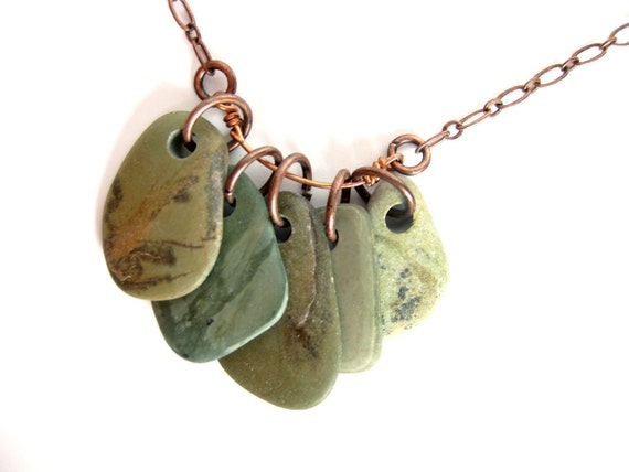 Natural jewelry - Army Greens Rock Collection Necklace - 711