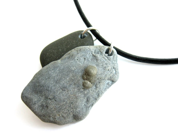 Rock jewelry for men - stone necklace for men - Rock Tags, Gold Miner - 345