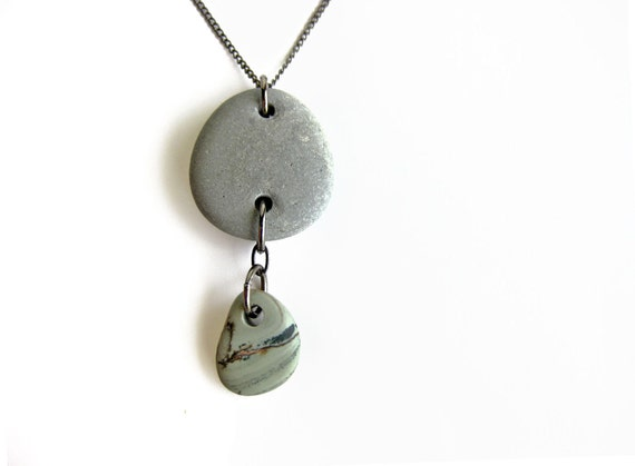 Natural stone jewelry - cairn necklace in slate blue.  Zen jewelry for nature lovers. Bluestone Cairn Necklace - 377