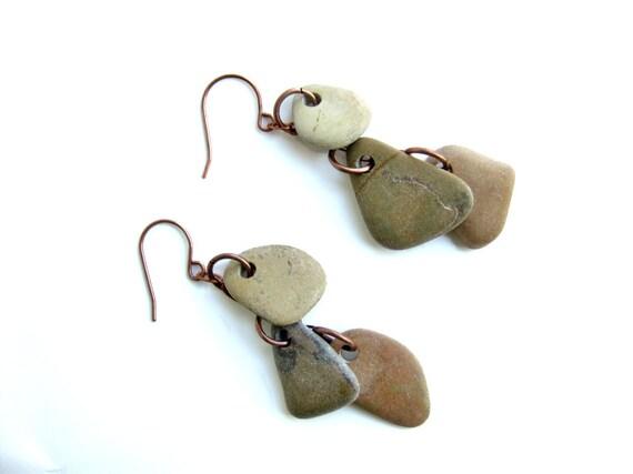 Natural stone earrings - raw stone jewelry - Ivory, Olive and Tan Dangle Stone Earrings on Gunmetal - 467
