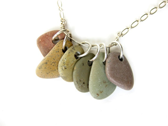 Rainbow necklace made from real river rocks and silver plate - Rainbow Rocks Necklace - 522
