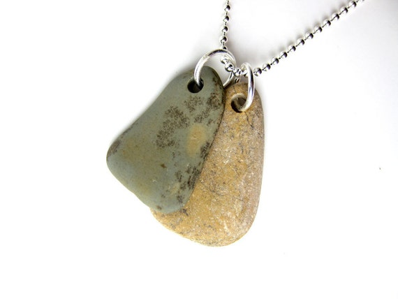 River stone necklace for men - beach jewellery - Rock Tags, Green and Yellow - 1038