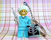 Surgeon, Nurse Keychain -  made from Series 6 LEGO (r) Minifigure