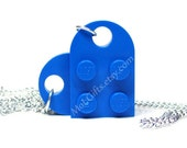 Brilliant Blue Heart Necklace made from LEGO (r) Heart Pieces