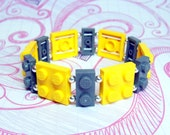 Geek Bracelet in Yellow and Gray - made from New LEGO (r) Pieces