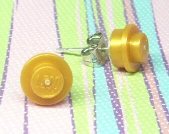 Little Pearl Gold  Stud Earrings made from LEGO® Pieces
