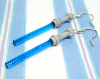 Brilliant Blue Light Saber Earrings, Genuine Star Wars LEGO® Light Saber Parts