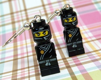 Black Ninja Earrings made with Genuine LEGO (r) Microfigs