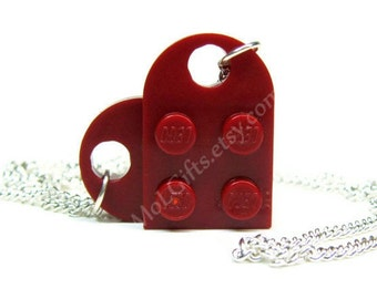 Dark Red Heart Necklace made from LEGO ® Heart Pieces
