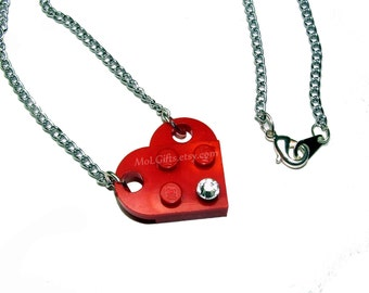 Heart Necklace made from LEGO (r) Heart Pieces and Swarovski Crystal Elememt