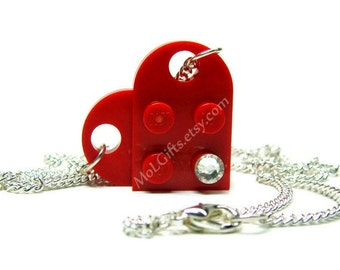 Red Heart Necklace made from LEGO®  Heart Pieces, Valentine's Day