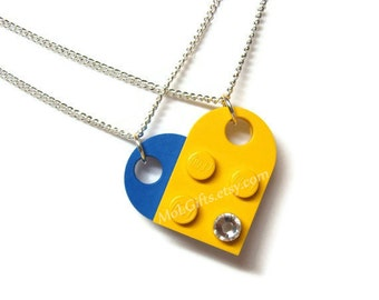 Heart Necklace Set - 2 Chains Sharing 1 Heart made from LEGO® Heart Pieces