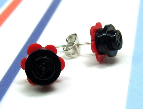 Crazy Daisy Stud Earrings made from LEGO® Pieces - Red and Black