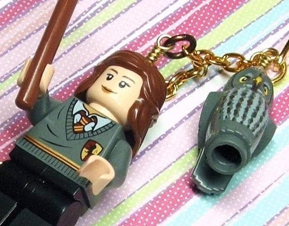 Hermione Granger & Owl Bookmark  - Original Design made with Genuine Lego Pieces