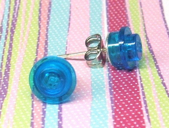 Transparent Blue Stud Earrings made from Genuine LEGO® Plates