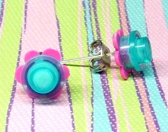 Crazy Daisy Stud Earrings made from LEGO® Pieces - Aquamarine and Dark Pink