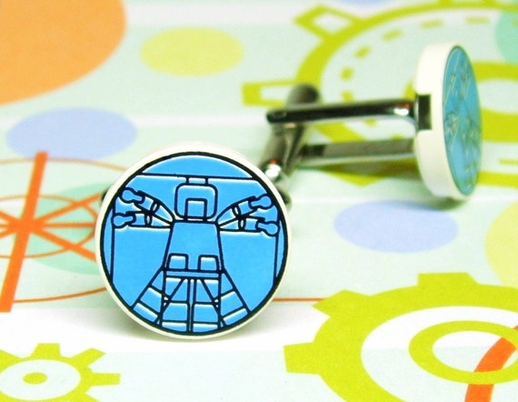 Cufflinks, Vitruvian Man - made with Genuine LEGO (r) Plates, Original Design by MoLGifts