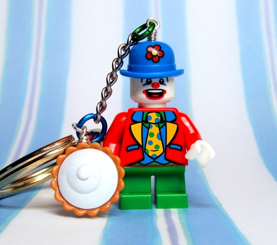 Little Clown Key Chain, Zipper Pull, Purse Charm - made from Genuine Series 5 LEGO (r) Minifig
