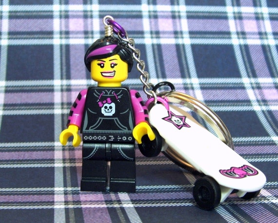 Skater Girl Keychain - made from Series 6 Intergalactic Girl LEGO (r) Minifigure