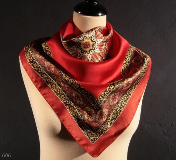 Vintage 1980s Cherry red Oriental unisex ornamental scarf