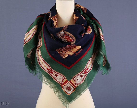 80s Large Equestrian Scarf / Nomad / Saddle Print