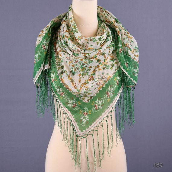 70s Large Fringed Floral Scarf / Nomad Scarf in Green and White
