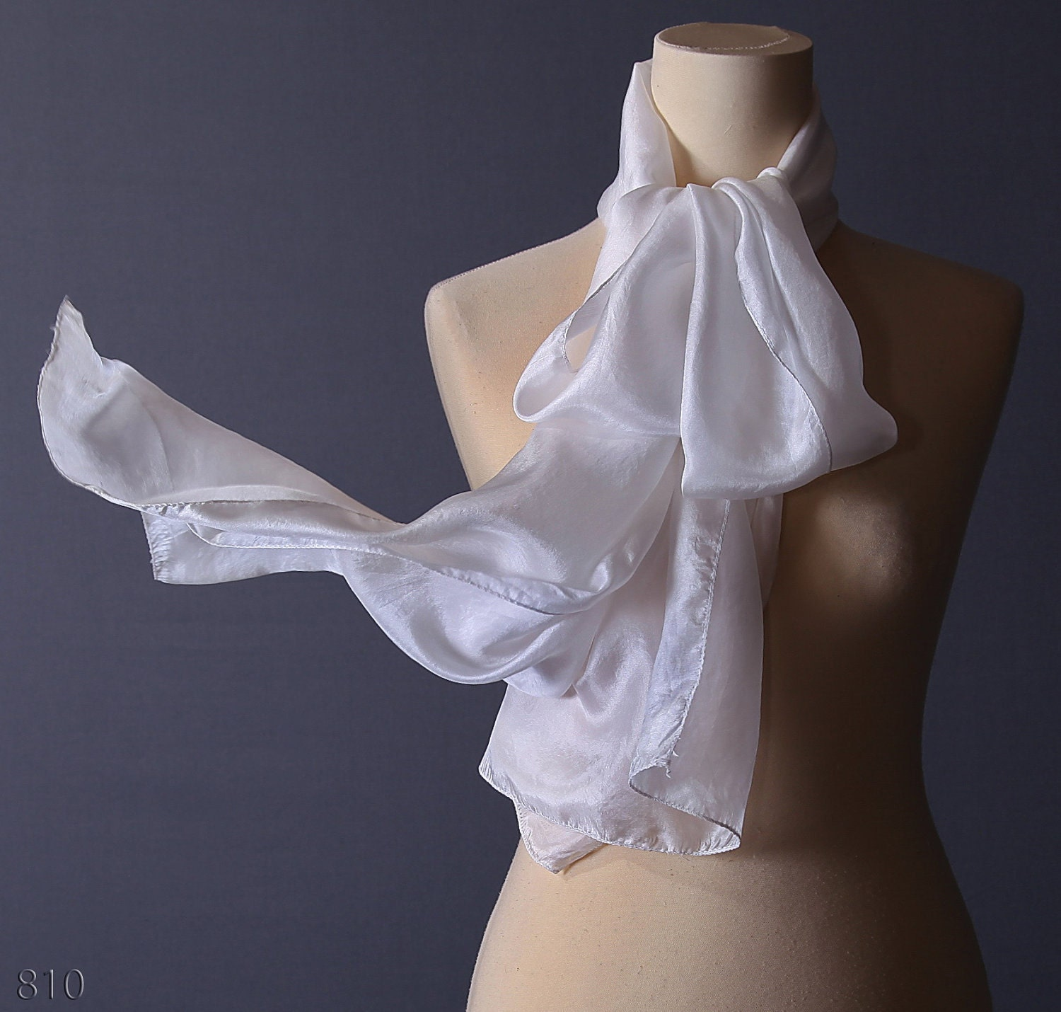 White Silk Scarf  Transparent Long Scarf  New by BetaAccessories White Silk Scarves