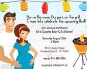 Retro CoEd Baby BBQ Shower Invitation