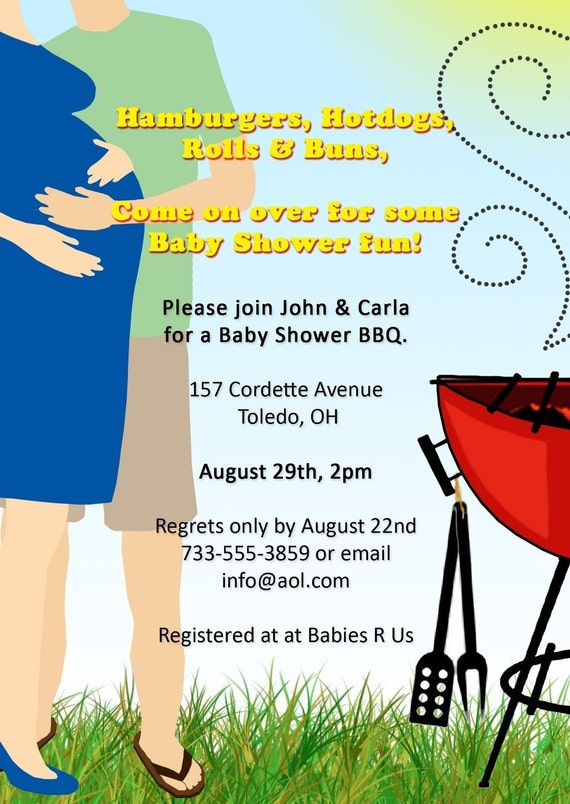 items similar to co ed bbq baby shower invitation on etsy