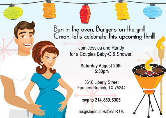 Retro CoEd Baby BBQ Shower Invitation