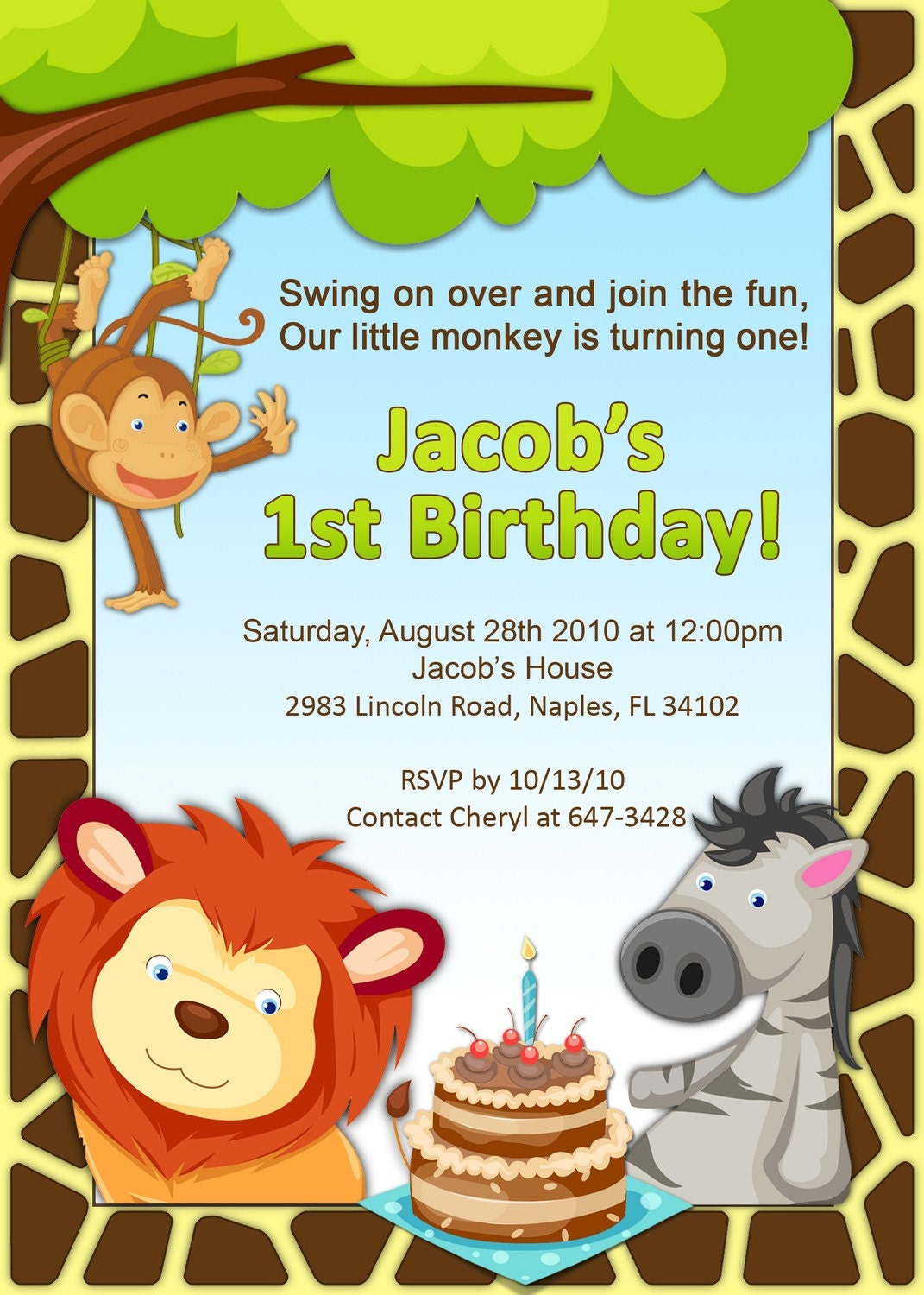 1st Birthday Jungle Invitation