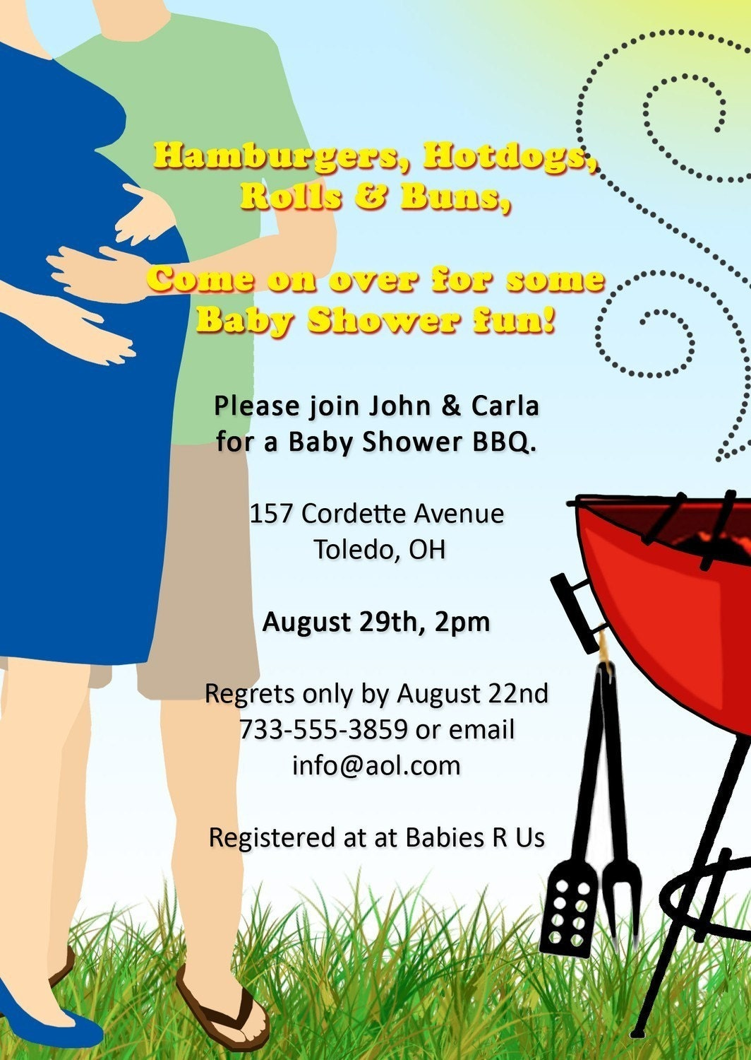 co ed bbq baby shower invitation by playfulprints on etsy